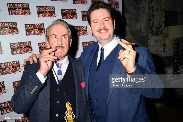 Jeff Nicholson and John Challis attend the after show party following the opening night of Only Fools and Horses The Musical at Theatre Royal...