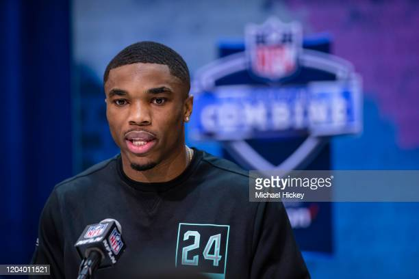 Jeff Okudah #DB24 of the Ohio State Buckeyes speaks to the media on day four of the NFL Combine at Lucas Oil Stadium on February 28 2020 in...