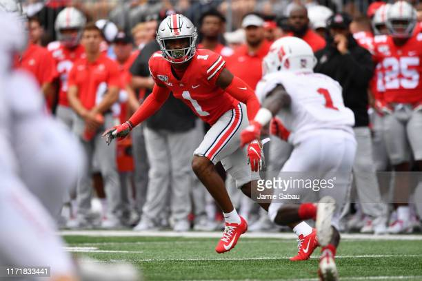 Jeff Okudah of the Ohio State Buckeyes defends against the Florida Atlantic Owls at Ohio Stadium on August 31 2019 in Columbus Ohio