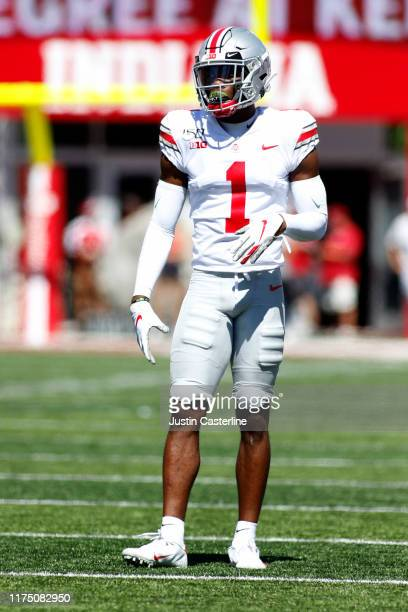 Jeff Okudah of the Ohio State Buckeyes on the field in the game against the Indiana Hoosiers at Memorial Stadium on September 14 2019 in Bloomington...