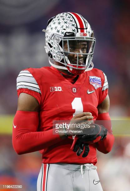 Jeff Okudah of the Ohio State Buckeyes warms up prior to the College Football Playoff Semifinal against the Clemson Tigers at the PlayStation Fiesta...