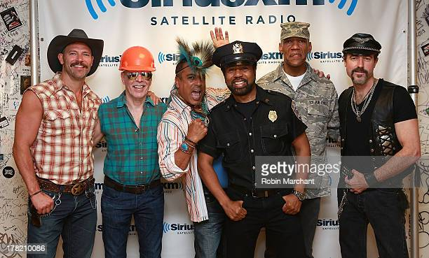Jeff Olson David 'Scar' Hodo Felipe Rose Ray Simpson Alex Briley and Eric Anzalone of Village People visits at SiriusXM Studios on August 27 2013 in...