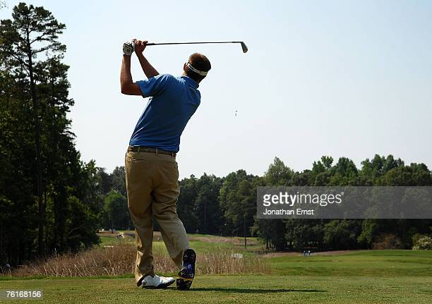 Jeff Overton hits from the third tee during the third round of the Wyndham Championship at Forest Oaks Country Club on August 18 2007 in Greensboro...