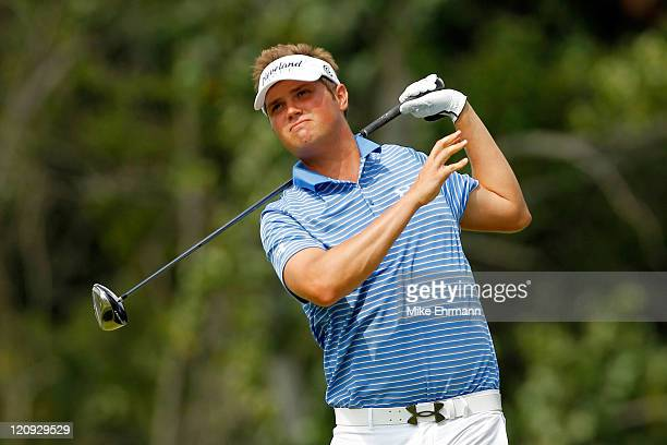 Jeff Overton hits his tee shot on the ninth hole during the second round of the 93rd PGA Championship at the Atlanta Athletic Club on August 12 2011...
