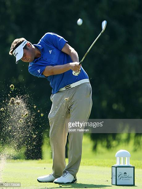 Jeff Overton hits his tee shot on the third hole during the second round of the Greenbrier Classic on The Old White Course at the Greenbrier Resort...