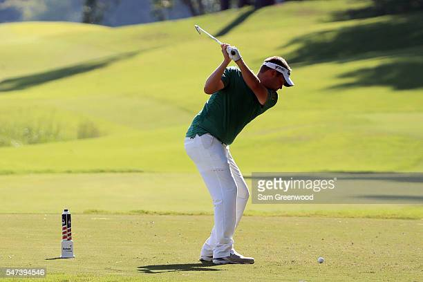 Jeff Overton hits off the eighth tee during the first round of the Barbasol Championship at the Robert Trent Jones Golf Trail at Grand National on...