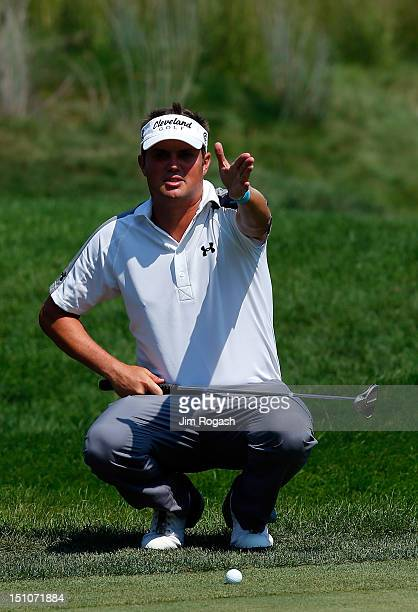 Jeff Overton lines up a putt during the first round of the Deutsche Bank Championship at TPC Boston on August 31 2012 in Norton Massachusetts