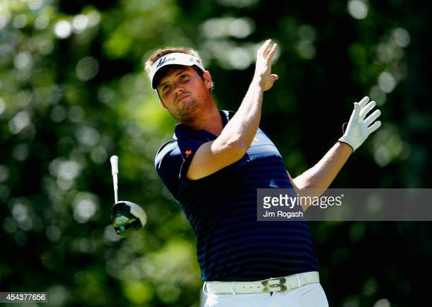 Jeff Overton loses his driver as he tees off on the second hole during the second round of the Deutsche Bank Championship at the TPC Boston on August...
