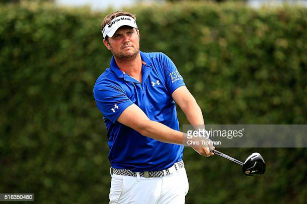 Jeff Overton of the United States hits his tee shot on the ninth hole during the second round of the Arnold Palmer Invitational Presented by...