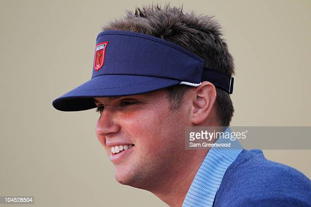 Jeff Overton of the USA answers questions from the media at a press conference during a practice round prior to the 2010 Ryder Cup at the Celtic...