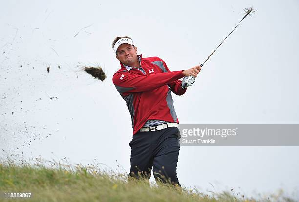 Jeff Overton of the USA hits from the rough during the second practice round during The Open Championship at Royal St George's on July 12 2011 in...