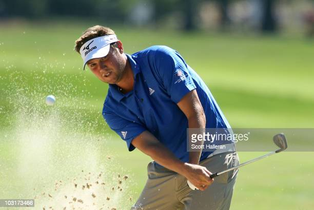 Jeff Overton plays a bunker shot on the 17th hole during the second round of the Greenbrier Classic on The Old White Course at the Greenbrier Resort...