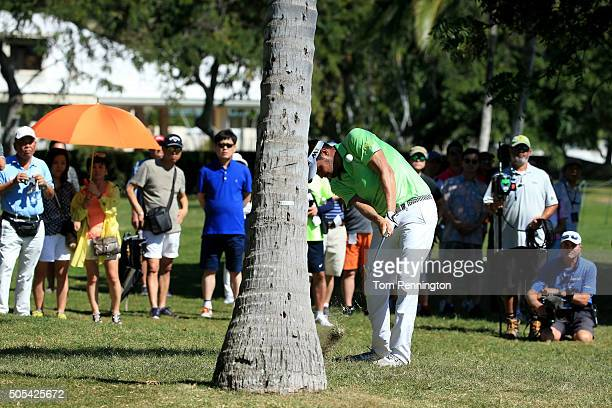 Jeff Overton plays a shot from behind a palm tree on the third hole during the final round of the Sony Open In Hawaii at Waialae Country Club on...