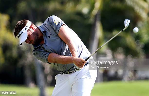 Jeff Overton plays a shot on the third hole during the third round of the Sony Open In Hawaii at Waialae Country Club on January 16 2016 in Honolulu...