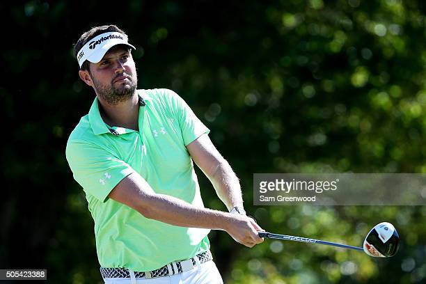 Jeff Overton plays his shot from the first tee during the final round of the Sony Open In Hawaii at Waialae Country Club on January 17 2016 in...
