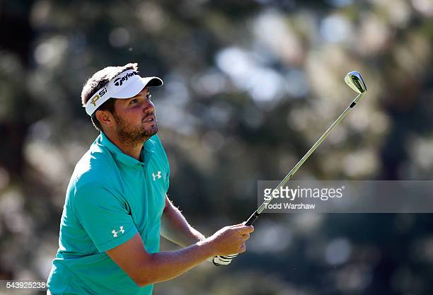 Jeff Overton plays his shot from the third tee during the first round of the Barracuda Championship at the Montreux Golf and Country Club on June 30...