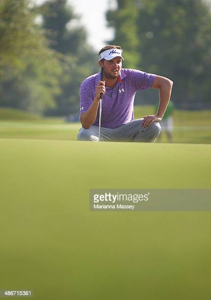 Jeff Overton prepares to putt on the 9th at the end of his round during Round Two of the Zurich Classic of New Orleans at TPC Louisiana on April 25...