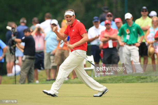 Jeff Overton reacts after missing his birdie putt on the seventh hole during the final round of the ATT National at Aronimink Golf Club on July 3...