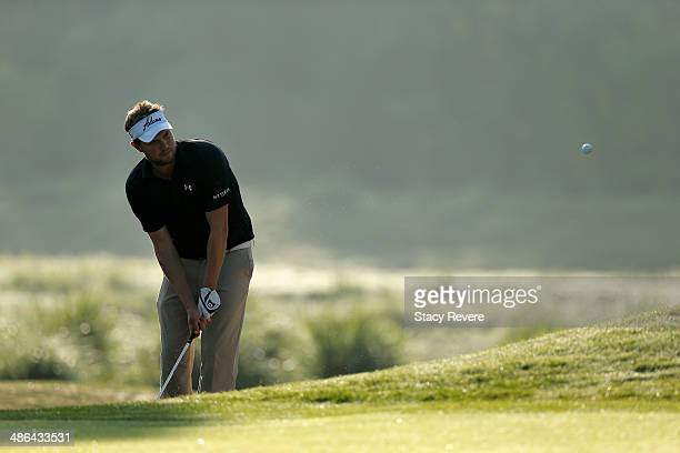 Jeff Overton takes his shot on the 2nd during Round One of the Zurich Classic of New Orleans at TPC Louisiana on April 24 2014 in Avondale Louisiana