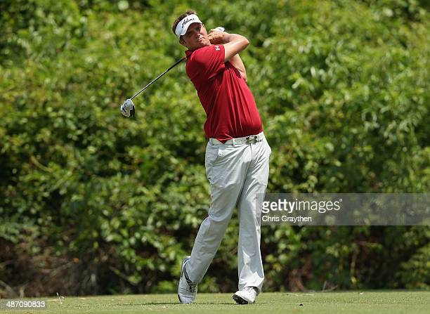 Jeff Overton tees off on the 2nd during the Final Round of the Zurich Classic of New Orleans at TPC Louisiana on April 27 2014 in Avondale Louisiana