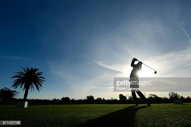 Jeff Overton tees off on the first hole during round three of the Northern Trust Open at Riviera Country Club on February 20 2016 in Pacific...