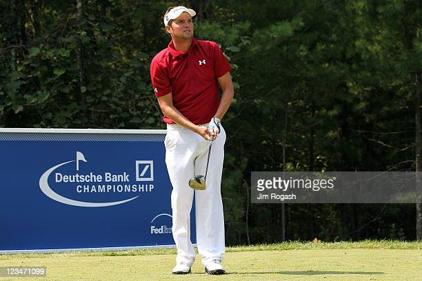 Jeff Overton watches his tee shot on the 15th hole during the second round of the Deutsche Bank Championship at TPC Boston on September 3 2011 in...