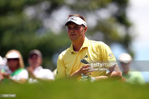 Jeff Overton watches his tee shot on the eighth hole during the second round of the AT&T National at Aronimink Golf Club on July 2, 2010 in Newtown...
