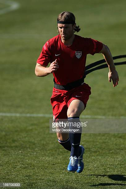 Jeff Parke goes through a strength exercise during the US Men's Soccer Team training session at the Home Depot Center on January 17 2013 in Carson...