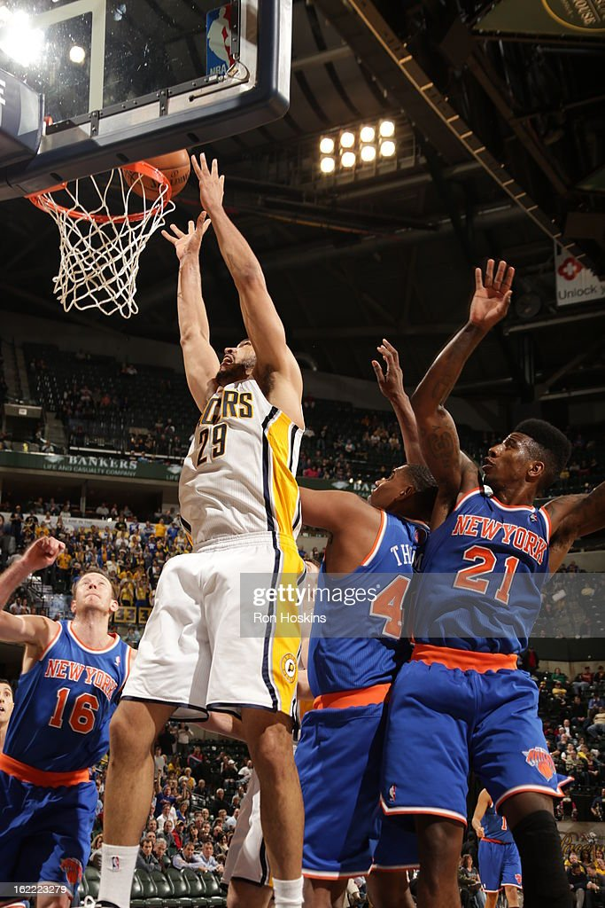 Jeff Pendergraph #29 of the Indiana Pacers dunks the ball during the game between the Indiana Pacers and the New York Knicks on February 20, 2013 at Bankers Life Fieldhouse in Indianapolis, Indiana.