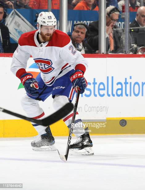 Jeff Petry of the Montreal Canadiens reacts to the airborne puck against the Philadelphia Flyers on March 19 2019 at the Wells Fargo Center in...