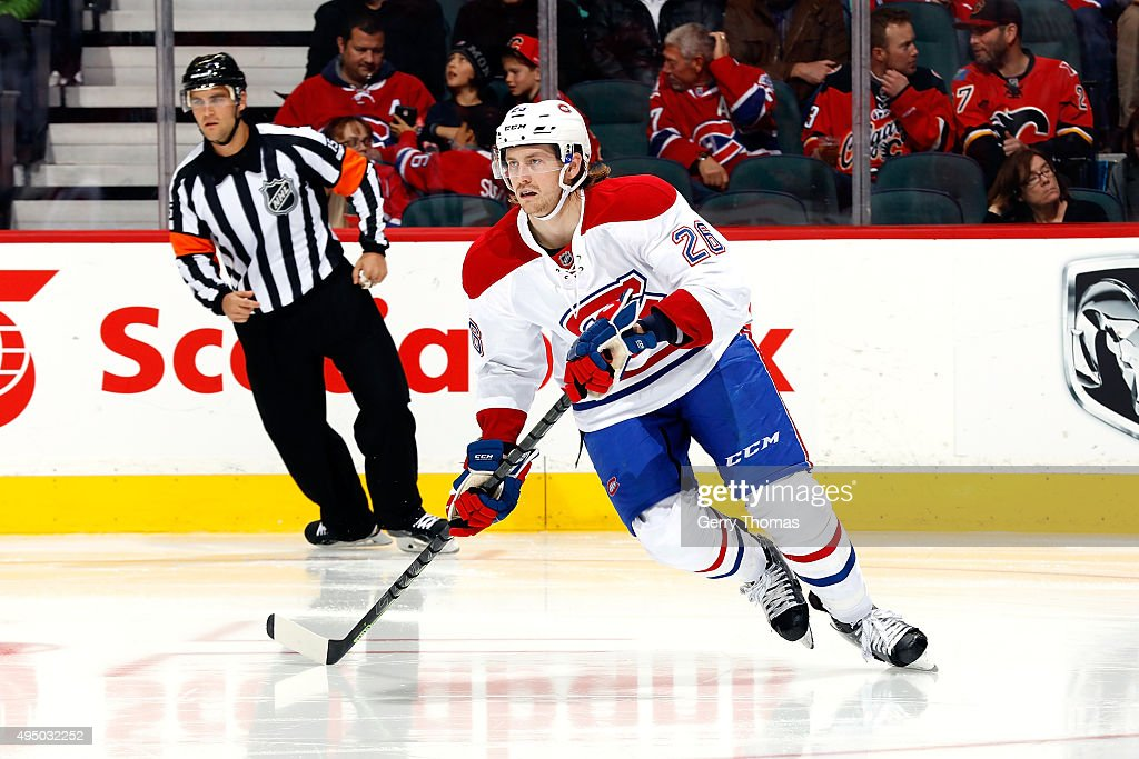 Jeff Petry #26 of the Montreal Canadiens skates against the Calgary Flames during an NHL game at Scotiabank Saddledome on October 30, 2015 in Calgary, Alberta, Canada.