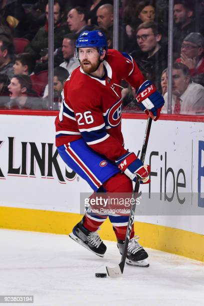 Jeff Petry of the Montreal Canadiens skates against the New York Rangers during the NHL game at the Bell Centre on February 22 2018 in Montreal...
