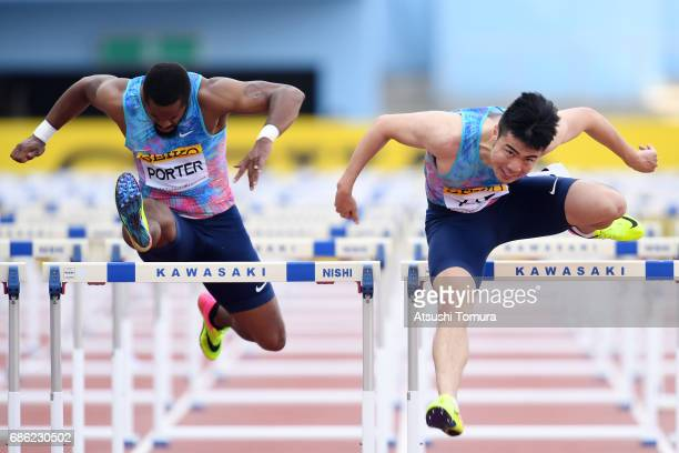 Jeff Porter of the USA and Wenjun Xie of China compete in the Men 110mH during the SEIKO Golden Grand Prix at Todoroki Athletics Stadium on May 21...