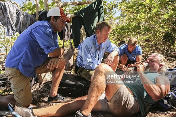 Jeff Probst and Dr Joe assess Paul Wachter's condition on the second episode of SURVIVOR Millennials vs Gen X airing Wednesday Sept 28 on the CBS...