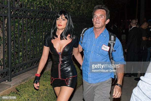 Jeff Probst and his wife Lisa Ann Russell are seen celebrating Halloween in Beverly Hills on October 30 2015 in Los Angeles California
