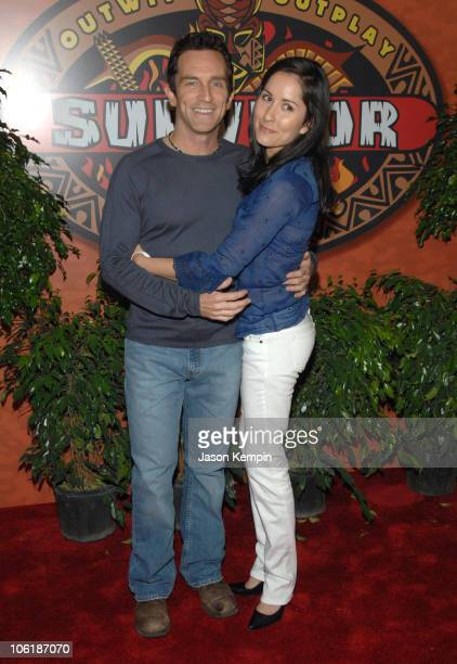 Jeff Probst and Julie Berry during Survivor Fiji Finale/Reunion Show Red Carpet at The Ed Sullivan Theater in New York City New York United States