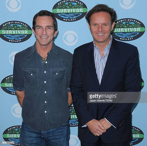 Jeff Probst and Mark Burnett arrive at the CBS 'Survivor' 10 Year Anniversary Party on January 9 2010 in Los Angeles California