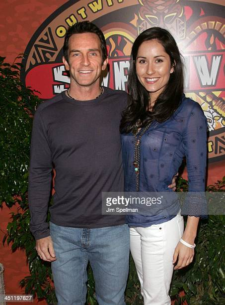 Jeff Probst host and girlfriend Julie Berry during Survivor Fiji Finale/Reunion Show at Ed Sullivan Theatre in New York City New York United States