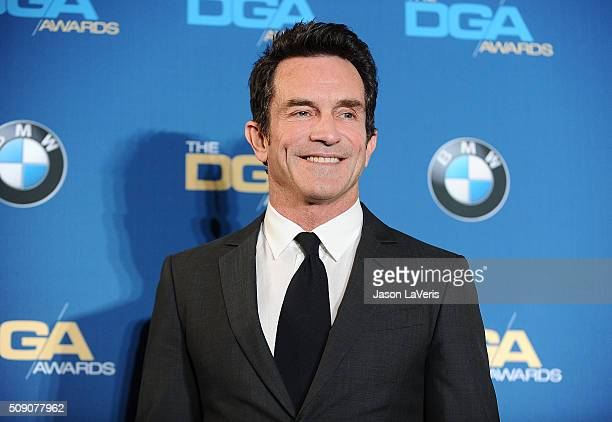 Jeff Probst poses in the press room at the 68th annual Directors Guild of America Awards at the Hyatt Regency Century Plaza on February 6 2016 in Los...
