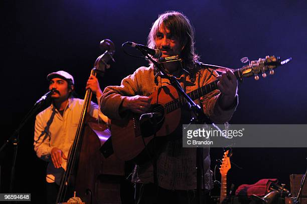 Jeff Prystowsky and Ben Knox Miller of The Low Anthem perform on stage at Shepherds Bush Empire on February 11 2010 in London England