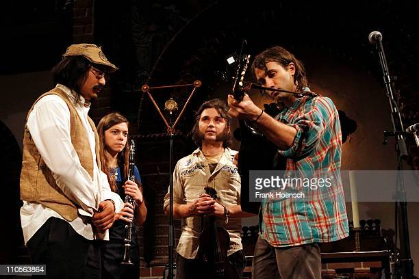 Jeff Prystowsky Jocie Adams Mat Davidson Ben Knox Miller of The Low Anthem performs live during a concert at the Passionskirche on March 21 2011 in...