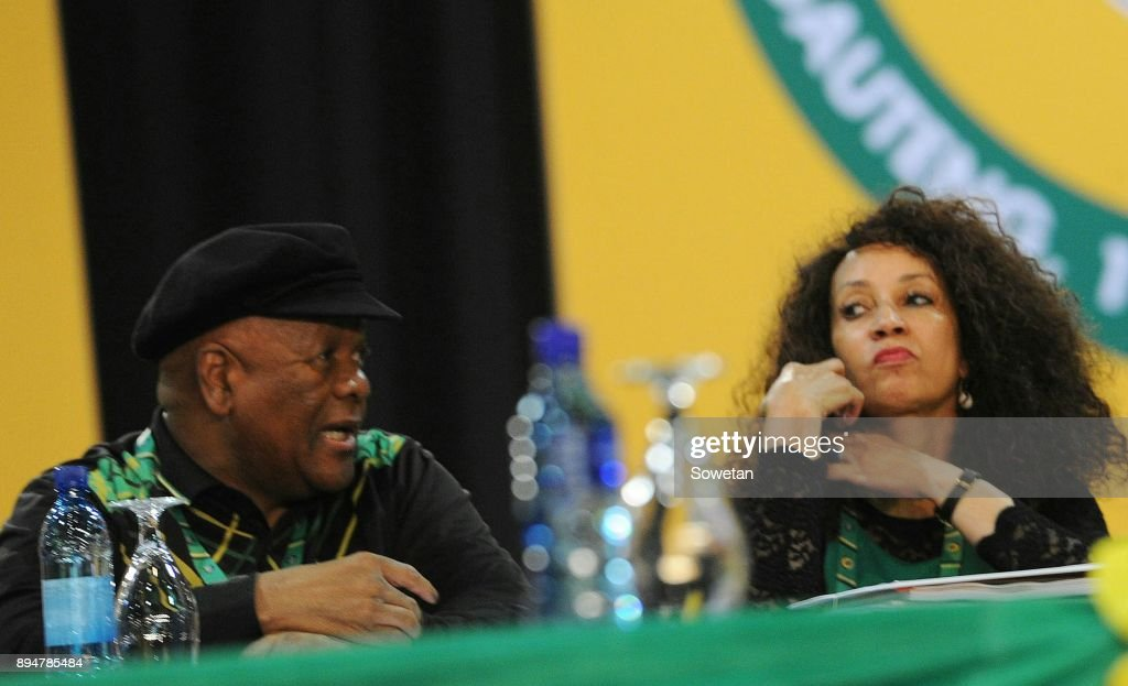 Jeff Radebe and Lindiwe Sisulu during outgoing ANC president Jacob Zumas final speech at the partys 54th national elective conference at the Nasrec Expo Centre on December 16, 2017 in Johannesburg, South Africa. In his speech Zuma reminded the ANC of the journey it had taken in 2017 remembering the longest-serving president of the ANC Oliver Reginald Tambo.