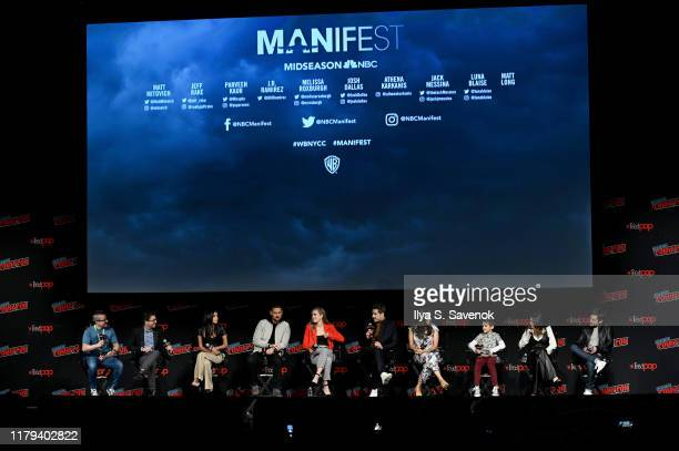 Jeff Rake Parveen Kaur JR Ramirez Melissa Roxburgh Josh Dallas Athena Karkanis Jack Messina Luna Blaise and Matt Long speak onstage during the Warner...