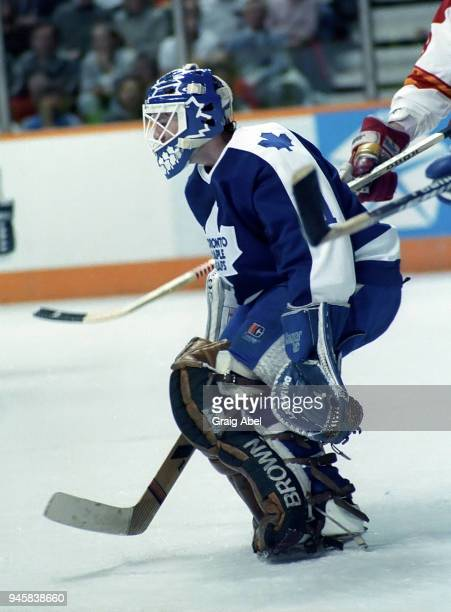 Jeff Reese of the Toronto Maple Leafs skates against the Calgary Flames during NHL game action on February 22 1989 at the Olympic Saddledome in...
