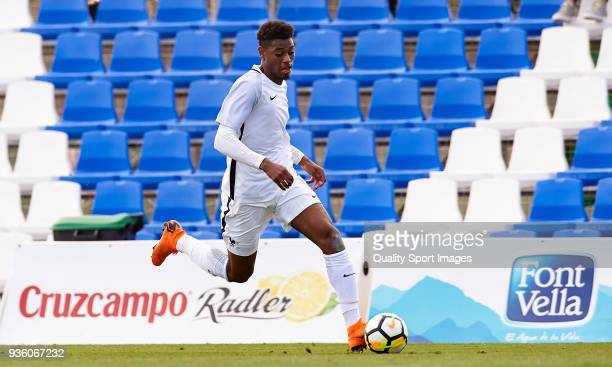 Jeff Reine Adelaide of France runs with the ball during the international friendly match between France U20 and USA U20 at Pinatar Arena on March 21...