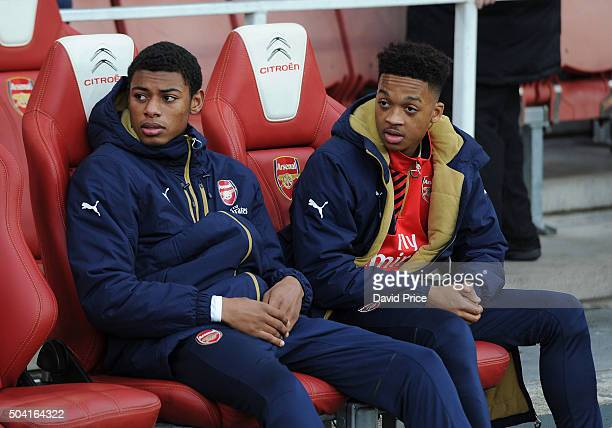 Jeff ReineAdelaide and Chris Willock of Arsenal before the FA Cup 3rd Round match between Arsenal and Sunderland at Emirates Stadium on January 9...