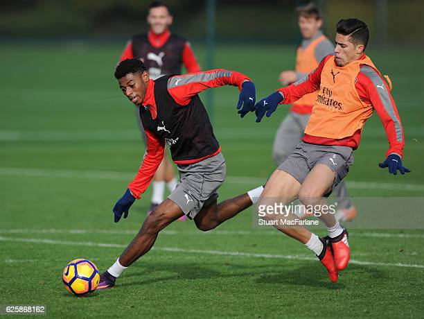 Jeff Reine-Adelaide and Gabriel of Arsenal during a training session in preparation for the Premier League match against AFC Bournemouth at London...