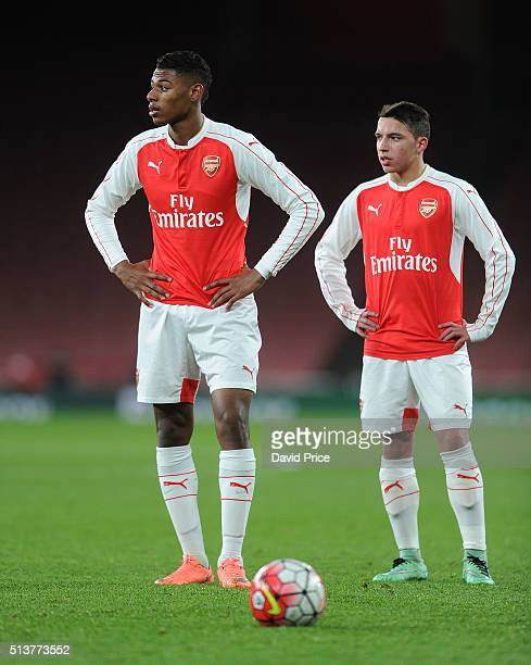Jeff ReineAdelaide and Ismael Bennacer of Arsenal during the match between Arsenal U18 and Liverpool U18 in the FA Youth Cup 6th round at Emirates...