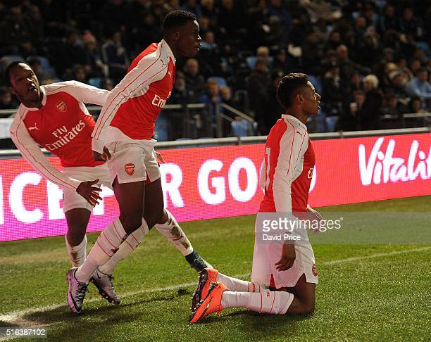 Jeff ReineAdelaide celebrates scoring a goal for Arsenal with Kaylen Hinds and Stephy Mavididi during the match between Manchester City and Arsenal...