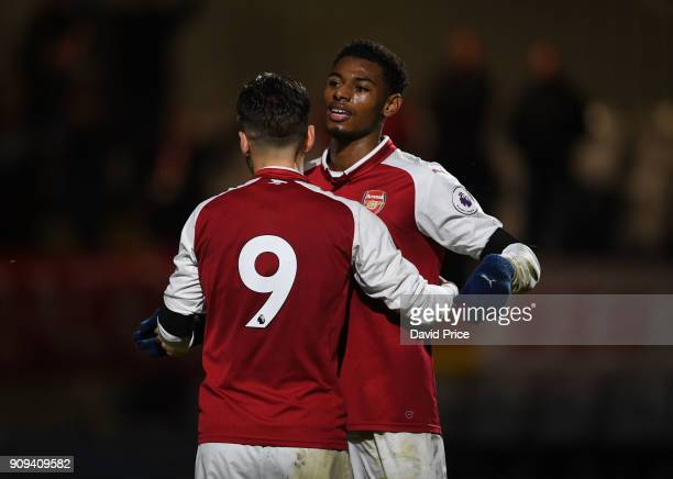 Jeff ReineAdelaide celebrates scoring Arsenal's 2nd goal during the Premier League International Cup Match between Arsenal and Bayern Munich at...